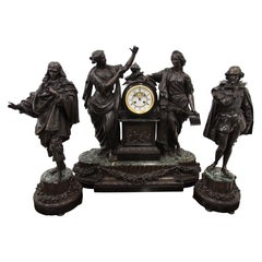 French Bronze and Marble Clock Garniture of Literature