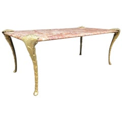 French Bronze and Marble Coffee Table