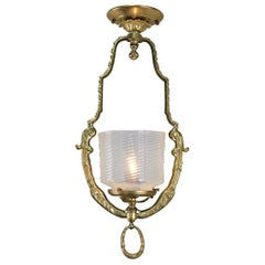 French Bronze and Opalescent Glass Lantern/ Chandelier