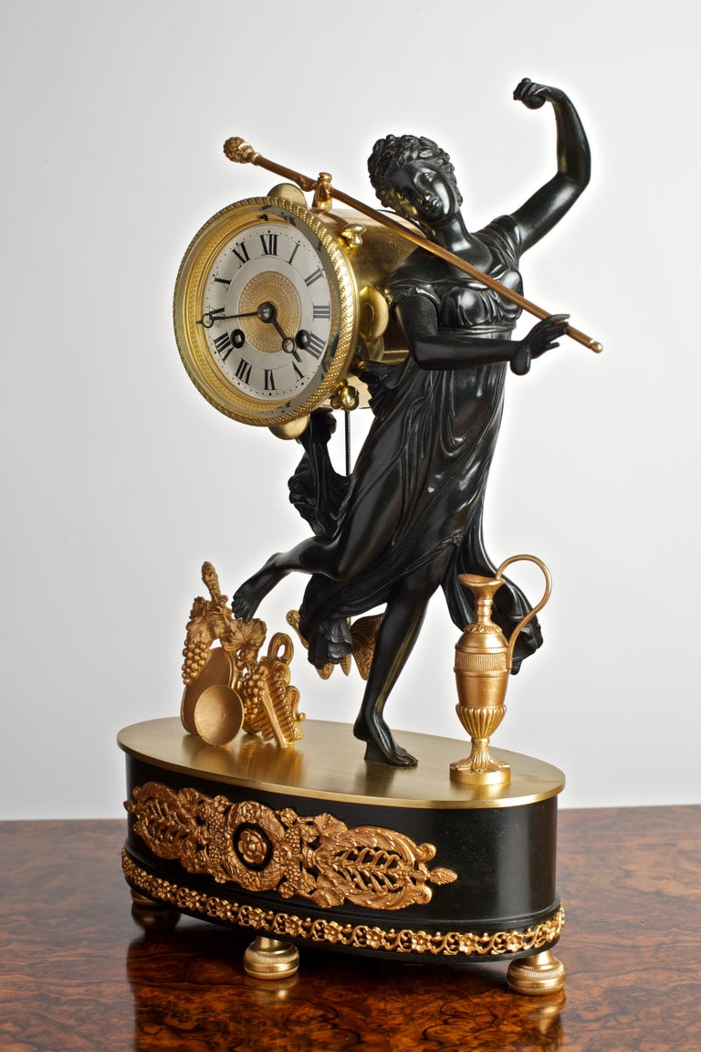 Victorian French Bronze and Ormolu Mantel Clock For Sale