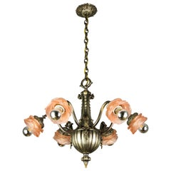 French Bronze and Pink Frosted Glass Six-Light Chandelier, 1920s
