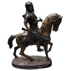French Bronze Arab on Horseback Orientalist Statue by Barye, 20th Century