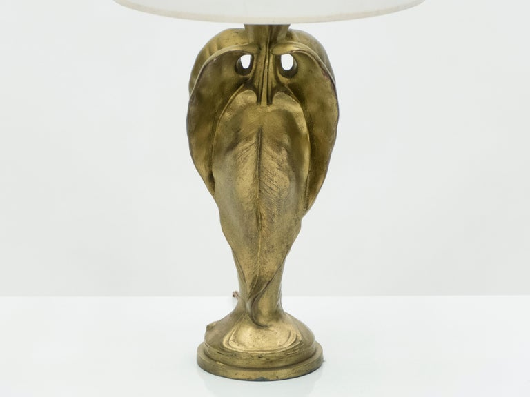 Early 20th Century French Bronze Art Deco Brass Lamp, 1920s For Sale