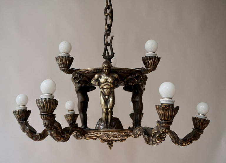 French Bronze Art Deco Hollywood Regency Chandelier Showing Male Nude Figures For Sale 6