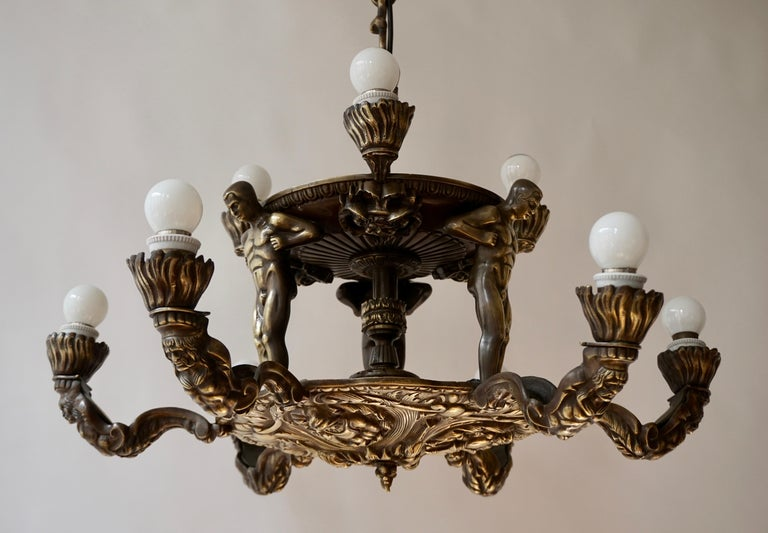 French Bronze Art Deco Hollywood Regency Chandelier Showing Male Nude Figures For Sale 7