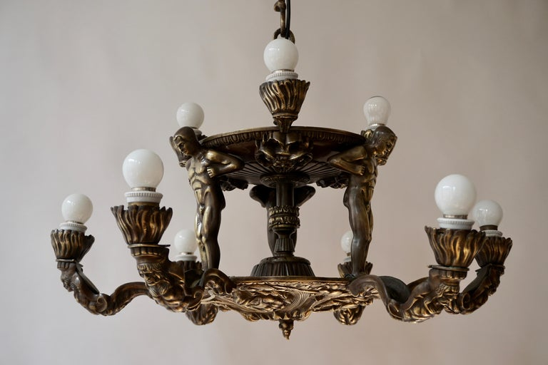 French Bronze Art Deco Hollywood Regency Chandelier Showing Male Nude Figures For Sale 8