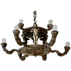 French Bronze Art Deco Hollywood Regency Chandelier Showing Male Nude Figures