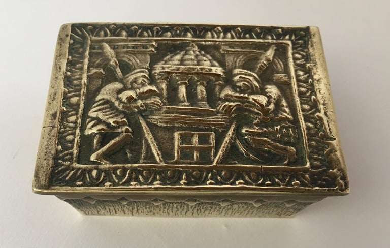 20th Century Max Le Verrier French Art Deco Bronze Jewelry Box  For Sale