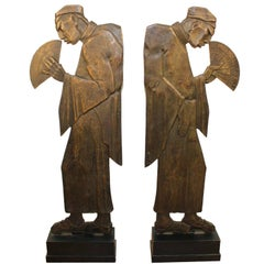 French Bronze Art Deco Sculptures of Chinese Men Holding Fans