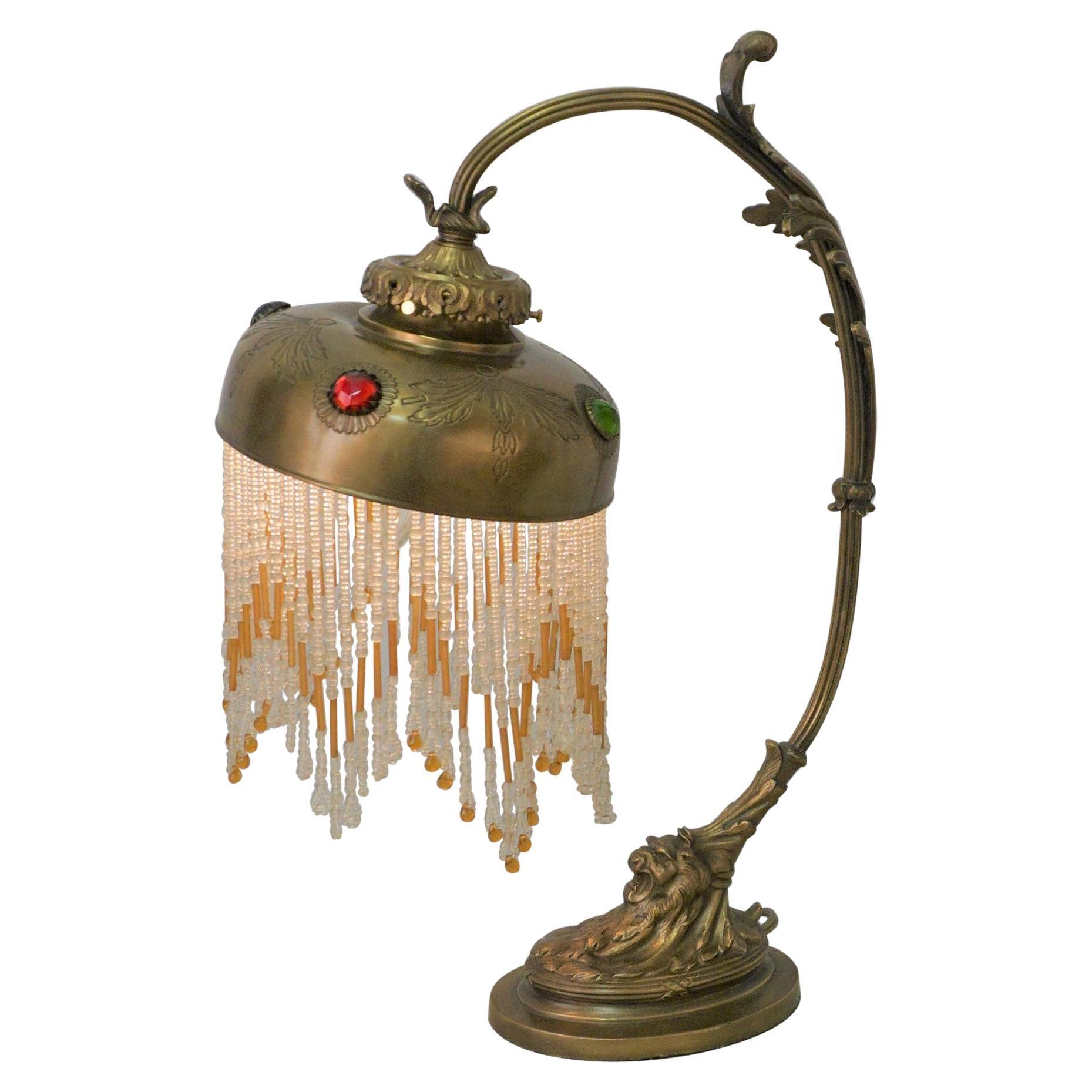 French Bronze Art Nouveau Table Lamp