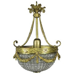 French Bronze and Beaded Ceiling Fixture, circa 1930s