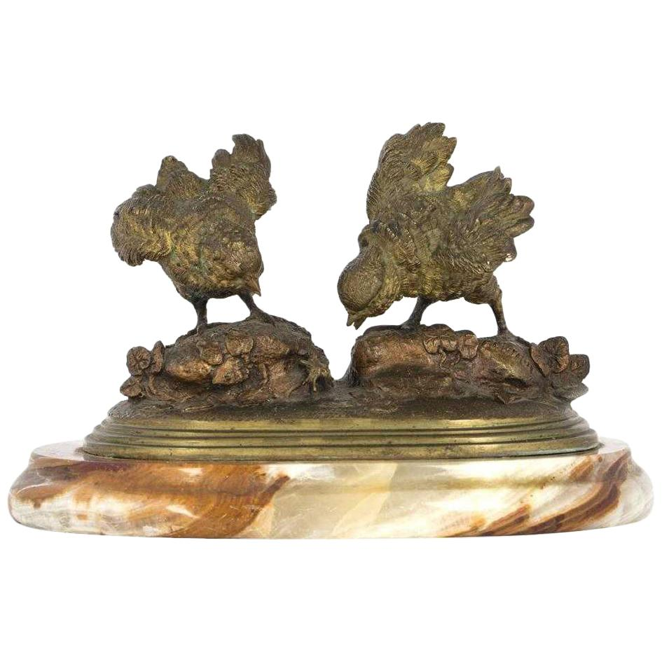 French Bronze Bird Group Sculpture, Signed F. Pautrot
