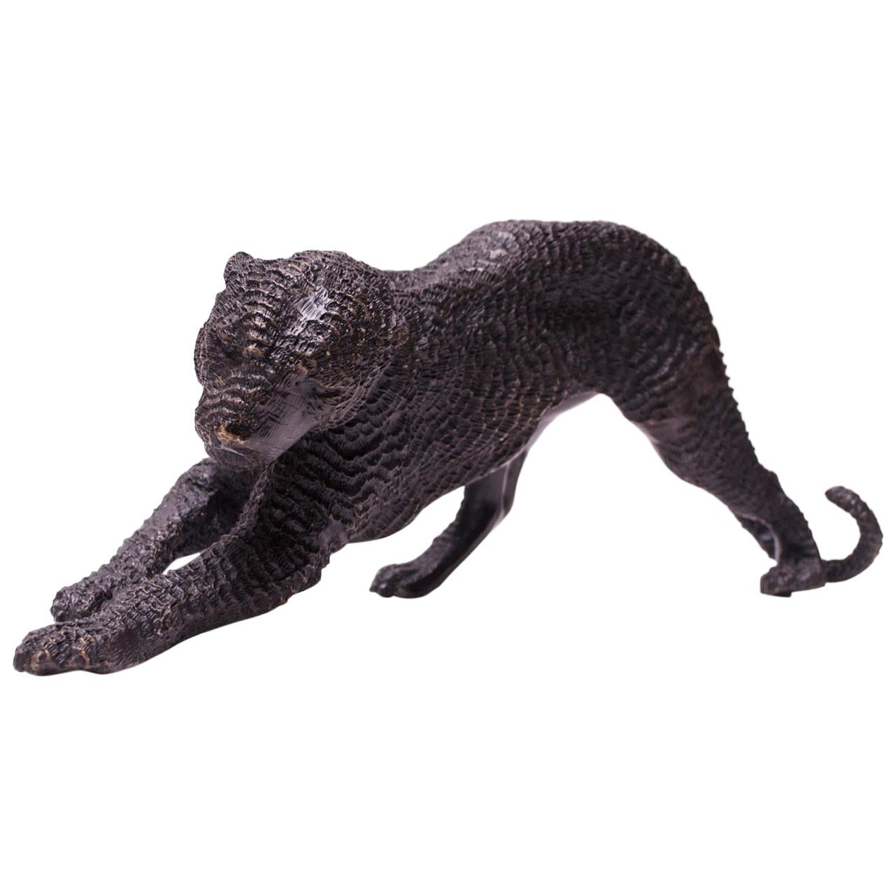 French Bronze Black Panther Sculpture