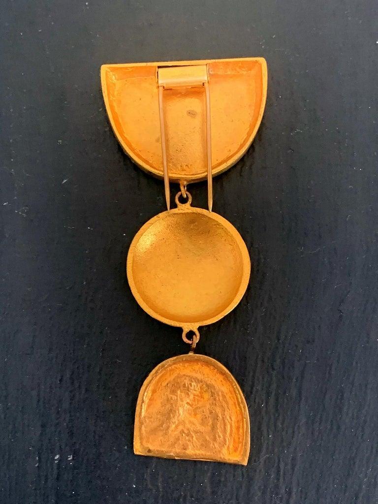 Mid-Century Modern French Bronze Brooch