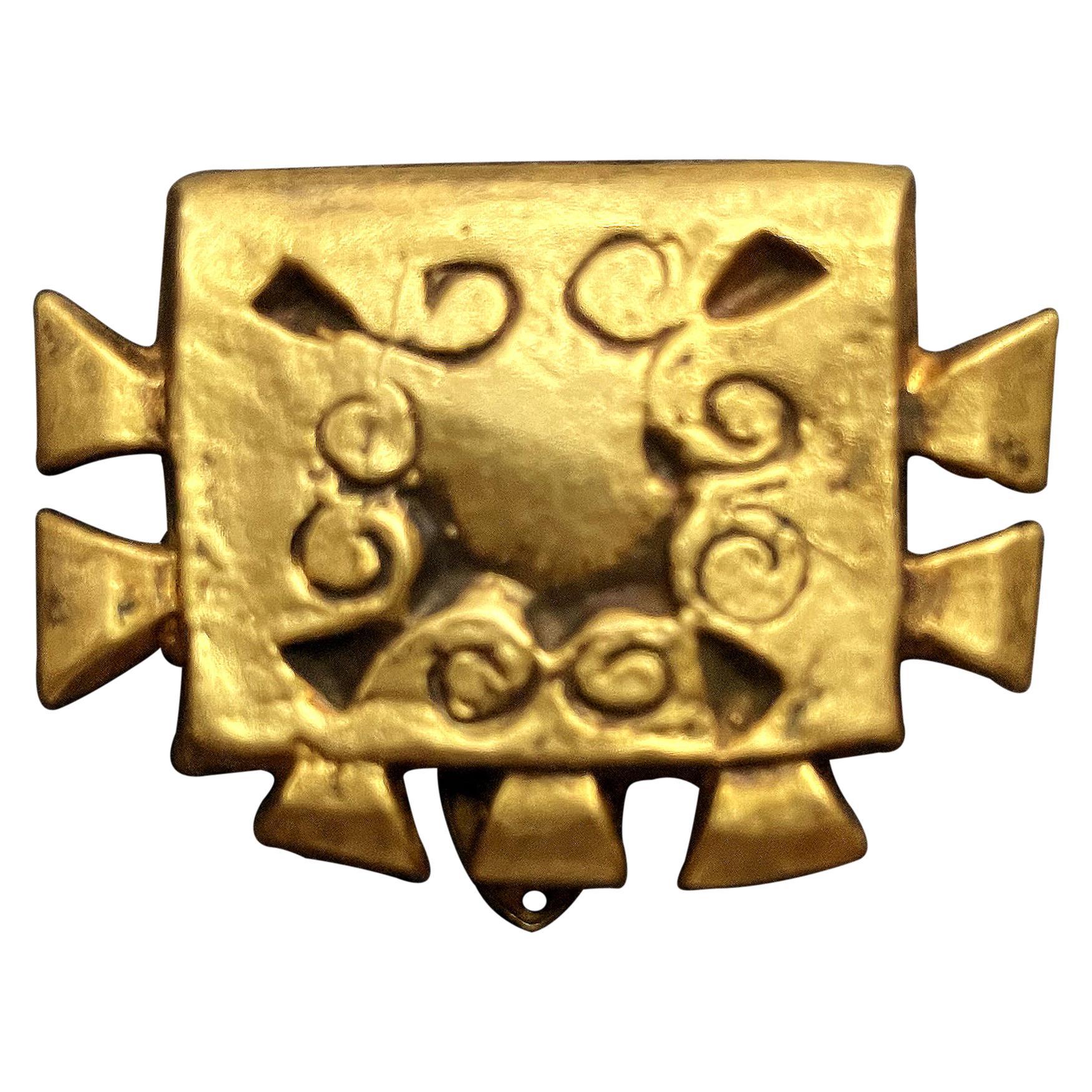 French Bronze Buckle Brooch Line Vautrin
