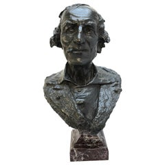 """French Bronze Bust by Jean-Baptiste Carpeaux, Known as """"Le Fumeur"""", Dated 1869"""