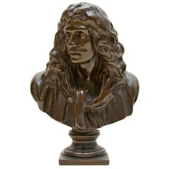 French Bronze Bust of 17th Century Playwright Molière