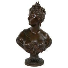 French Bronze Bust of Diana After 18th Century Sculptor Houdon, Marked Susse