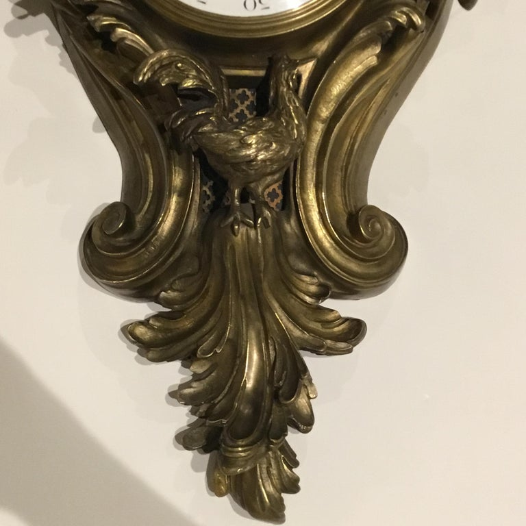 French Bronze Cartel Clock, 19th Century For Sale 7