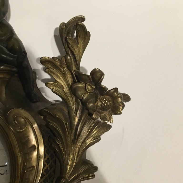 French Bronze Cartel Clock, 19th Century For Sale 9