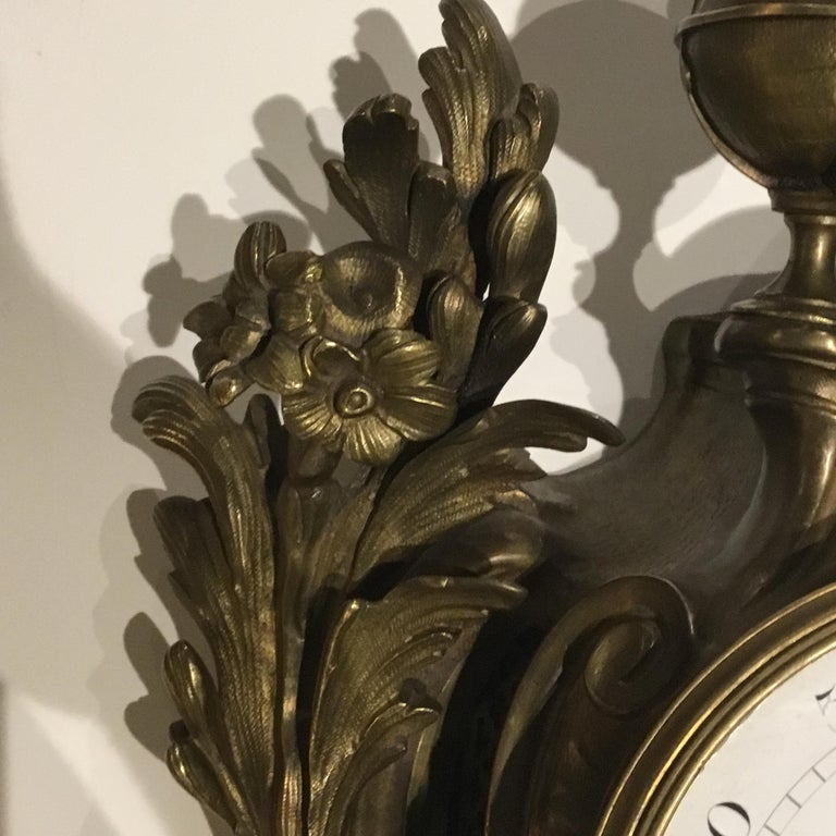 French Bronze Cartel Clock, 19th Century For Sale 10