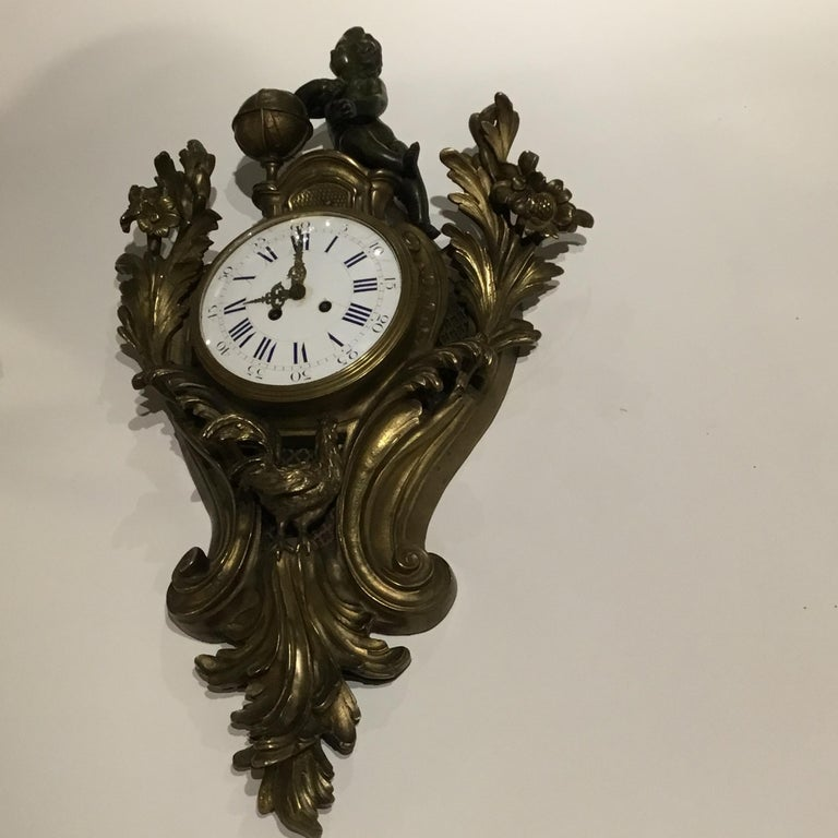 French Bronze Cartel Clock, 19th Century For Sale 11