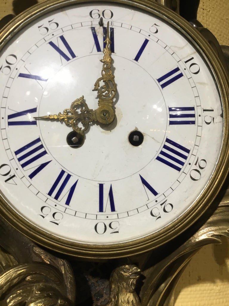 French Bronze Cartel Clock, 19th Century  In Good Condition For Sale In Houston, TX