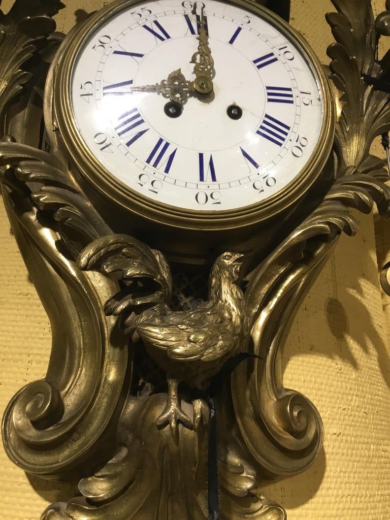 French Bronze Cartel Clock, 19th Century  For Sale 1