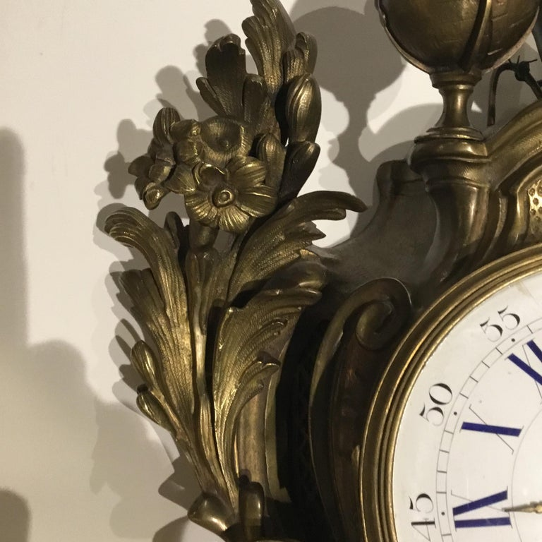 French Bronze Cartel Clock, 19th Century For Sale 3