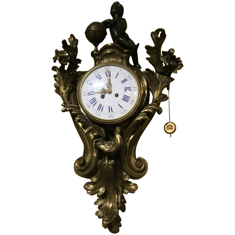 French Bronze Cartel Clock, 19th Century
