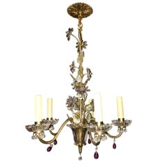 French Bronze Chandelier with Crystal Flowers