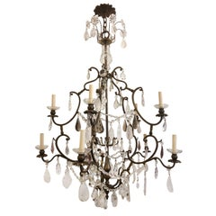 French Bronze Chandelier with Rock Crystals