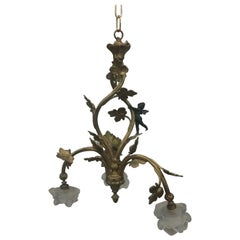 French Bronze Cherub Chandelier Ceiling Lighting