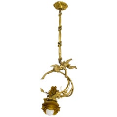 French Bronze Cherub Three-Light Chandelier, 1930s