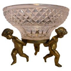 French Bronze Cherubs Cut Crystal Candy/Nut Dish Bowl
