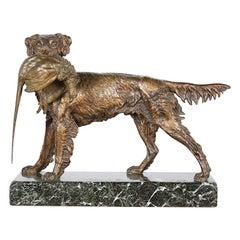 French Bronze 'Chien et Faisan' by Jules Moigniez