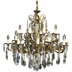 French Bronze and Crystal 16 Light Antique Chandelier