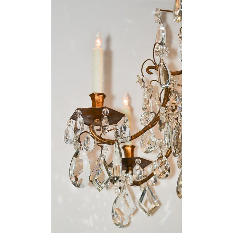 French Bronze & Crystal Chandelier, after Maison Baguès In Good Condition For Sale In Dallas, TX
