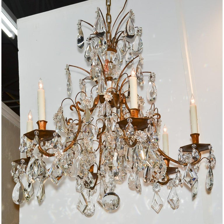 Mid-20th Century French Bronze & Crystal Chandelier, after Maison Baguès For Sale