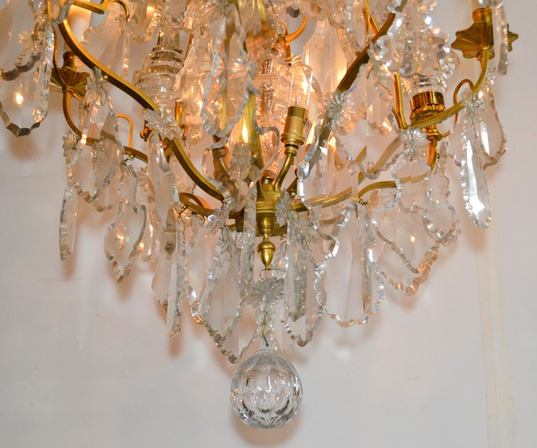 Great antique French gilt bronze and crystal chandelier.