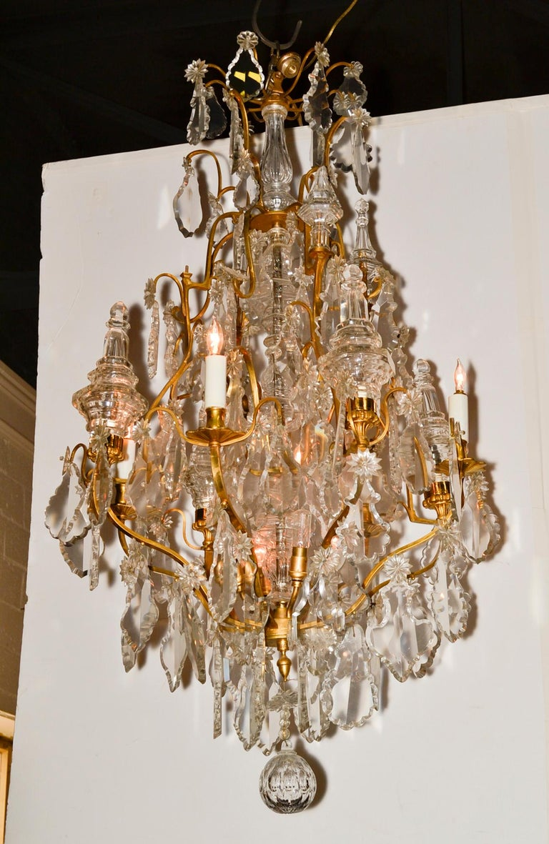 Gilt French Bronze and Crystal Chandelier For Sale