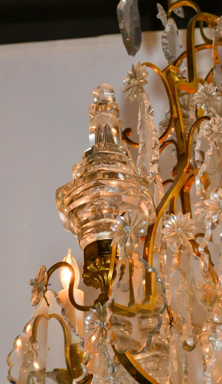 French Bronze and Crystal Chandelier In Good Condition For Sale In Dallas, TX