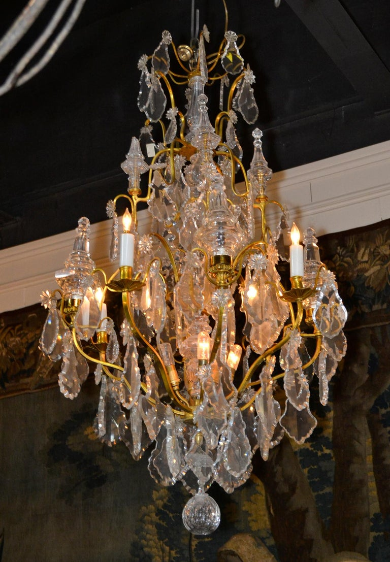 Early 20th Century French Bronze and Crystal Chandelier For Sale