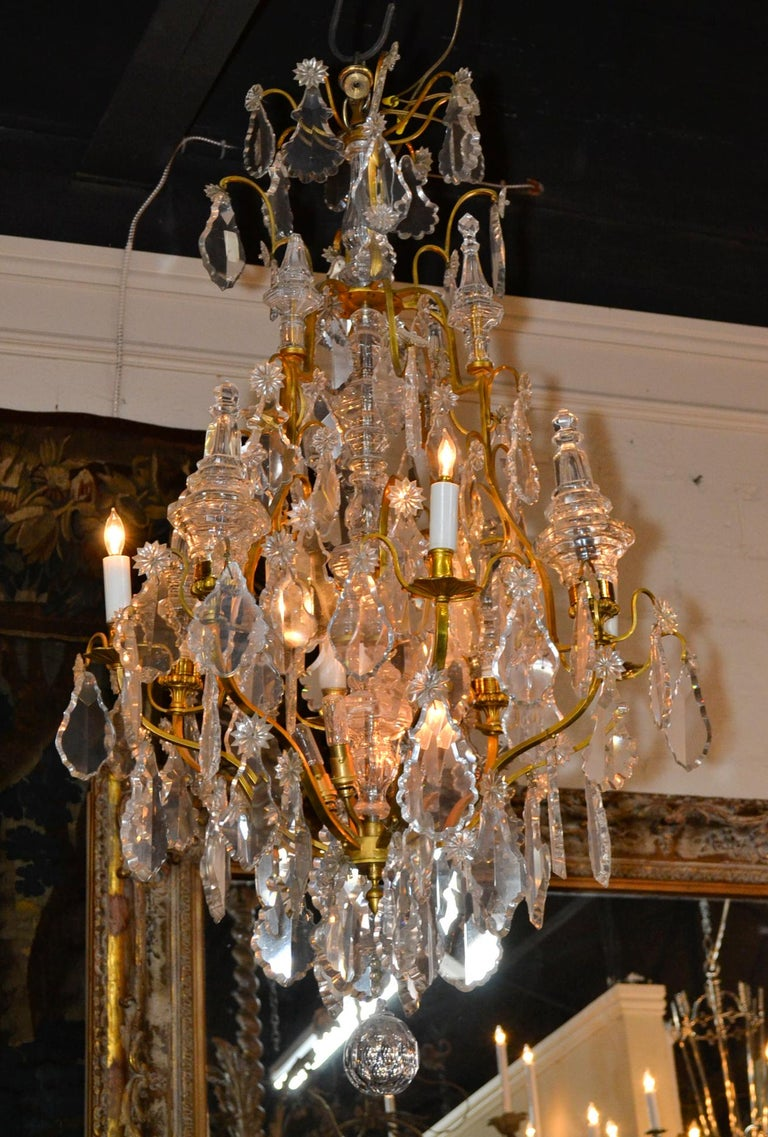 French Bronze and Crystal Chandelier For Sale 3