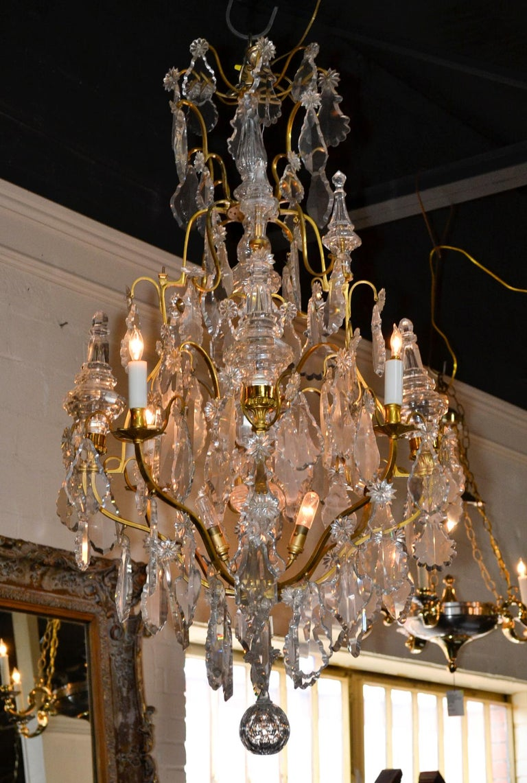 French Bronze and Crystal Chandelier For Sale 4