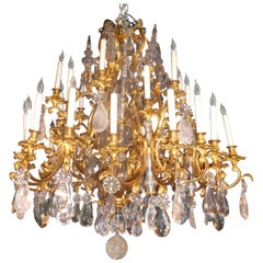 French Bronze Dore Louis XV Style Baccarat and Rock Crystal Chandelier