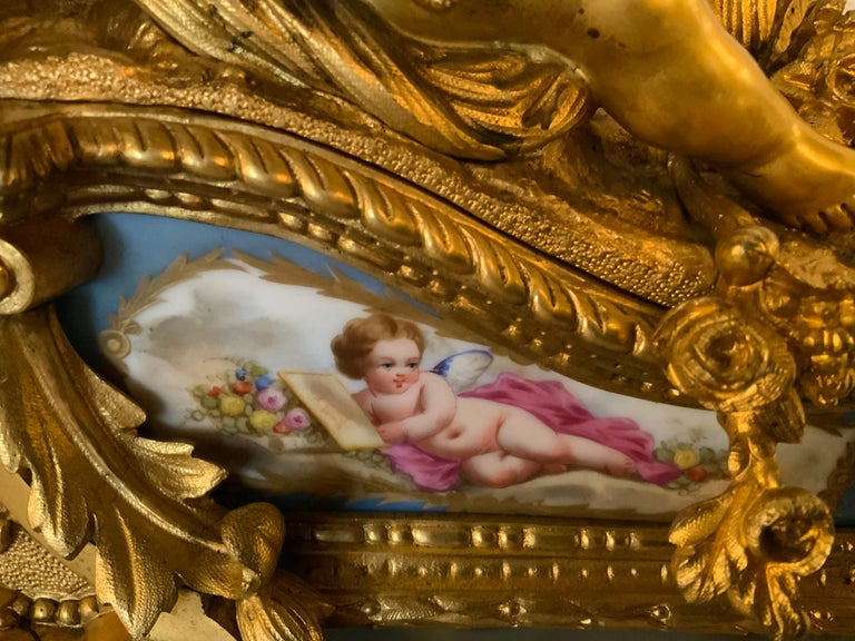 French Bronze Dore Mantel Clock with Cherubs, Sevres Style Mounts In Good Condition For Sale In Houston, TX
