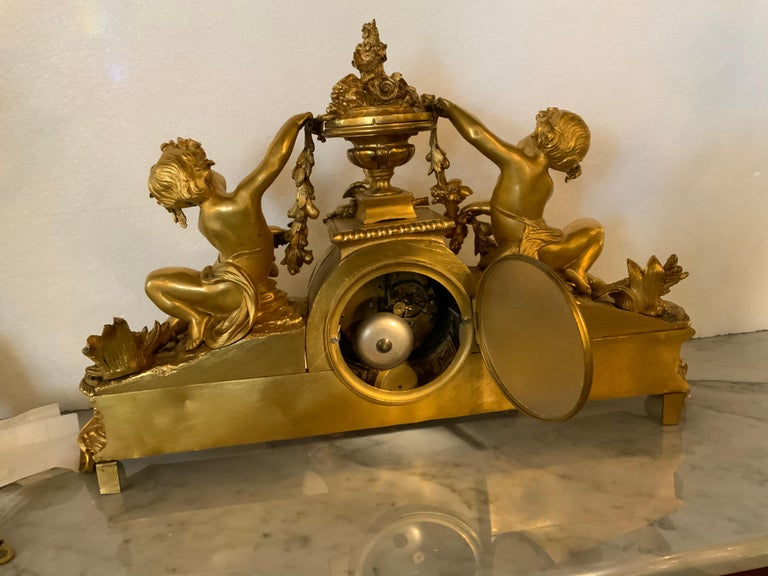 French Bronze Dore Mantel Clock with Cherubs, Sevres Style Mounts For Sale 1