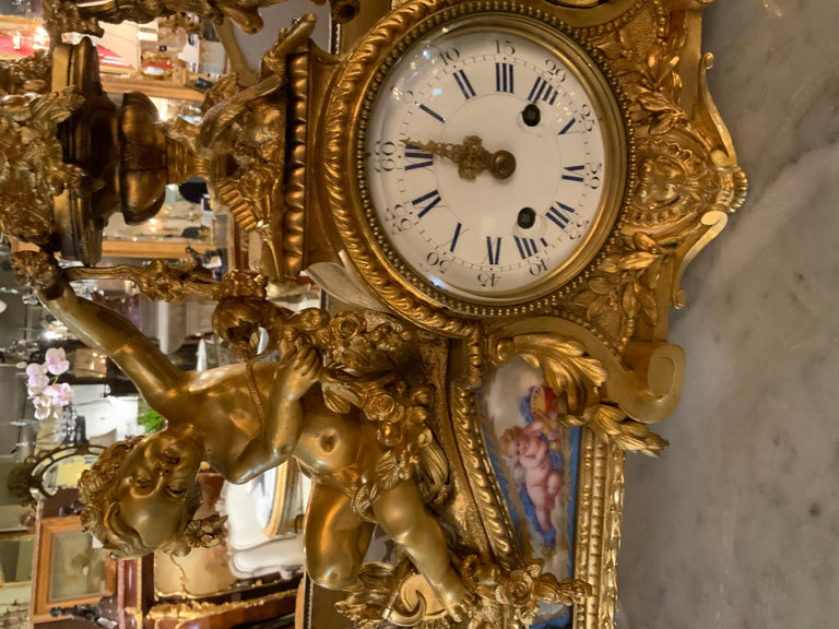 French Bronze Dore Mantel Clock with Cherubs, Sevres Style Mounts For Sale 2