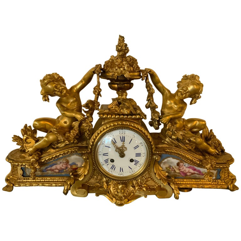 French Bronze Dore Mantel Clock with Cherubs, Sevres Style Mounts For Sale